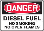 OSHA Danger Safety Sign: Diesel Fuel - No Smoking - No Open Flames