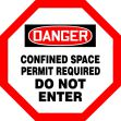 OSHA Danger Shape Safety Sign: Confined Space - Permit Required - Do Not Enter