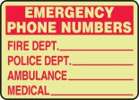 Glow Fire Safety Sign: Emergency Phone Numbers