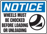 OSHA Notice Safety Sign: Wheels Must Be Chocked Before Loading Or Unloading