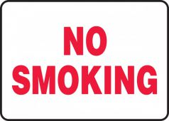 - Contractor Preferred Safety Sign: No Smoking (Red On White)