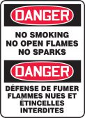 - French Bilingual OSHA Danger Smoking Control Sign: No Smoking - No Open Flames - No Sparks