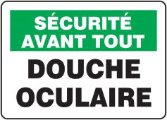- French OSHA Safety First Safety Sign: Douche Oculaire