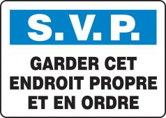 - BILINGUAL FRENCH SIGN – KEEP CLEAN
