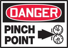 - OSHA Danger Safety Label: Pinch Point (Arrow and Graphic)