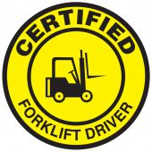 - Hard Hat Stickers: Certified Forklift Driver