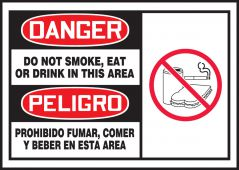 - Bilingual OSHA Danger Safety Label: Do Not Smoke, Eat Or Drink In This Area