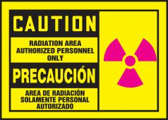 - Bilingual OSHA Caution Safety Label: Radiation Area - Authorized Personnel Only