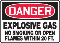 - OSHA Danger Safety Sign: Explosive Gas No Smoking Or Open Flames Within 20 FT.