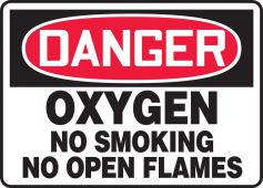 - OSHA Danger Safety Sign: Oxygen No Smoking No Open Flames
