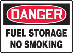 - OSHA Danger Safety Sign: Fuel Storage - No Smoking