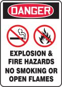 - OSHA Danger Safety Sign: Explosion & Fire Hazards - No Smoking Or Open Flames