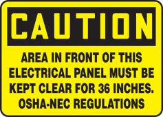 - OSHA Caution Safety Label: Area In Front Of This Electrical Panel Must Be Kept Clear For 36 Inches. - OSHA-NEC Regulations