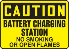 - OSHA Caution Safety Sign: Battery Charging Station No Smoking or Open Flames