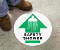 - Slip-Gard™ Floor Sign: Safety Shower (Graphic And Arrow)