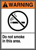 - ANSI Warning Safety Sign: Do Not Smoke In This Area