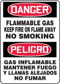- Bilingual Spanish OSHA Danger Safety Sign: Flammable Gas Keep Fire Or Flame Away No Smoking