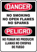 - Spanish Bilingual OSHA Danger Smoking Control Sign: No Smoking - No Open Flames - No Sparks