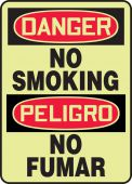 - Bilingual Glow-In-The-Dark OSHA Danger Safety Sign: No Smoking