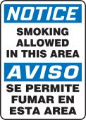 - Bilingual OSHA Notice Safety Sign: Smoking Allowed In This Area