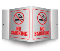- Brushed Aluminum 3D Projection™ Signs: No Smoking