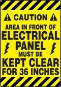 - Slip-Gard™ ANSI Caution Border Floor Sign: Area In Front Of Electrical Panel Must Be Kept Clear For 36 Inches