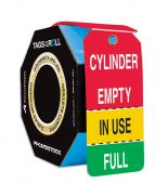 - Perforated Tags By-The-Roll with Grommets: Cylinder Empty - In Use - Full