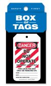 - Box of Tags: OSHA Danger - Do Not Operate - Equipment Locked Out