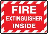 Fire Extinguisher Label: Fire Extinguisher Inside (Striped)