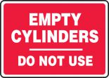 Safety Sign: Empty Cylinders Do Not Use