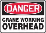 OSHA Danger Safety Sign: Crane Working Overhead