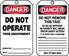 OSHA Danger Safety Tag: Do Not Operate This Equipment
