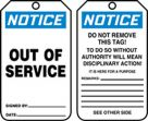 OSHA Notice Safety Tag: Out Of Service