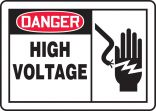 OSHA Danger Safety Sign: High Voltage With Graphic