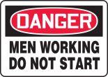 OSHA Danger Safety Sign: Men Working - Do Not Start