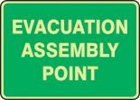 Glow-In-The-Dark Safety Sign: Evacuation Assembly Point