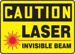 OSHA Caution Safety Sign: Laser - Invisible Beam
