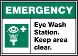 ANSI ISO Emergency Safety Sign: Eye Wash Station - Keep Area Clear.