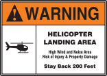 ANSI Warning Safety Sign: Helicopter Landing Area
