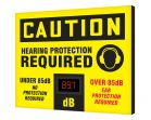 OSHA Caution Industrial Decibel Meter Sign: Hearing Protection RequirdB