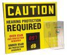 OSHA Caution Decibel Meter Sign With Ear Plug Dispenser
