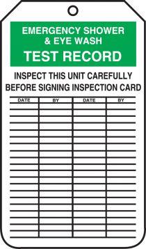 EMERGENCY SHOWER & EYEWASH TEST RECORD