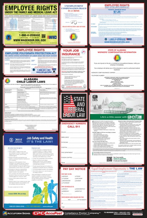 OSHA Safety Poster: Combo State, Federal & OSHA Labor Law Posters