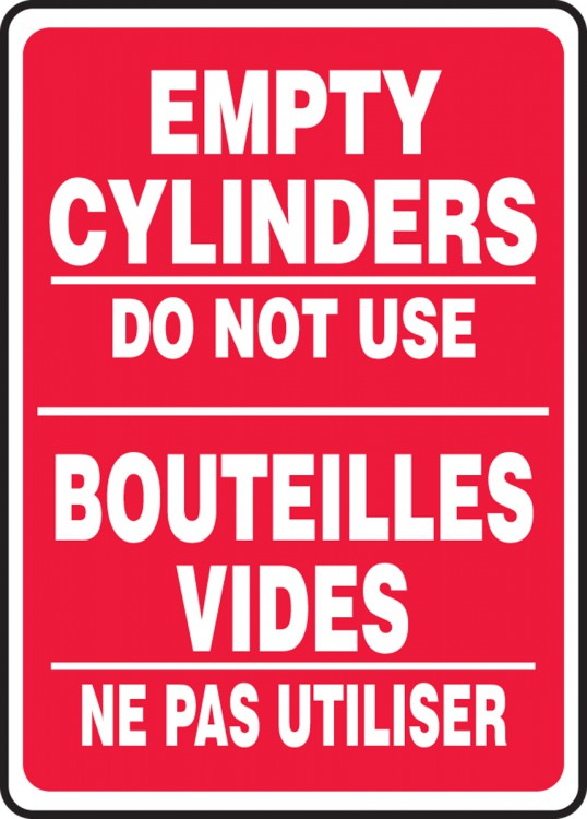 EMPTY CYLINDERS DO NOT USE (BILINGUAL FRENCH - BOUTEILLES VIDES NE PAS UTILISER)
