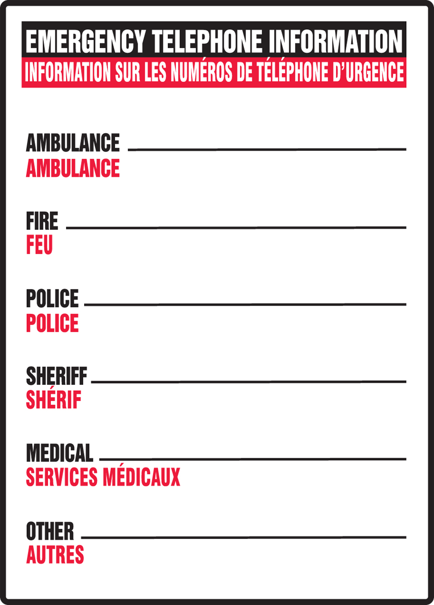 EMERGENCY TELEPHONE INFORMATION AMBULANCE___ FIRE___ POLICE___ SHERIFF___ MEDICAL___ OTHER___ (BILINGUAL FRENCH)