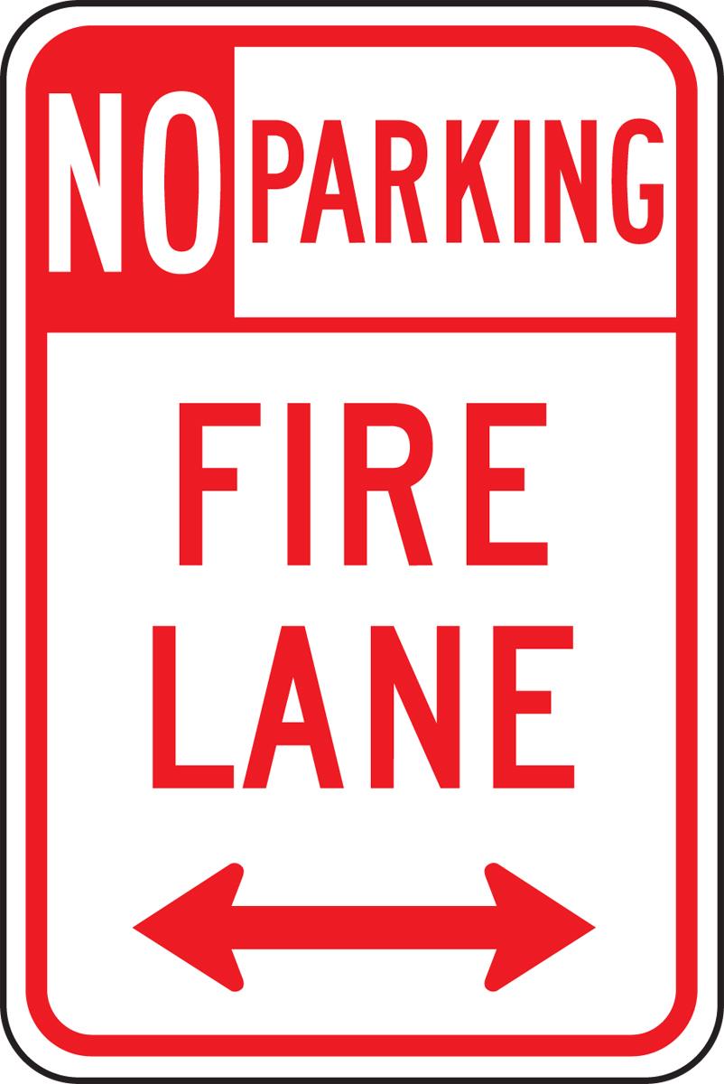 NO PARKING FIRE LANE <---->
