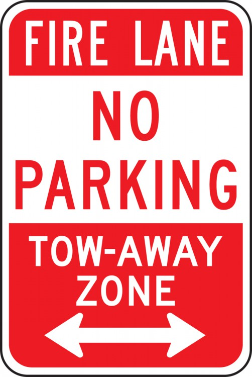 FIRE LANE NO PARKING TOW-AWAY ZONE <---->