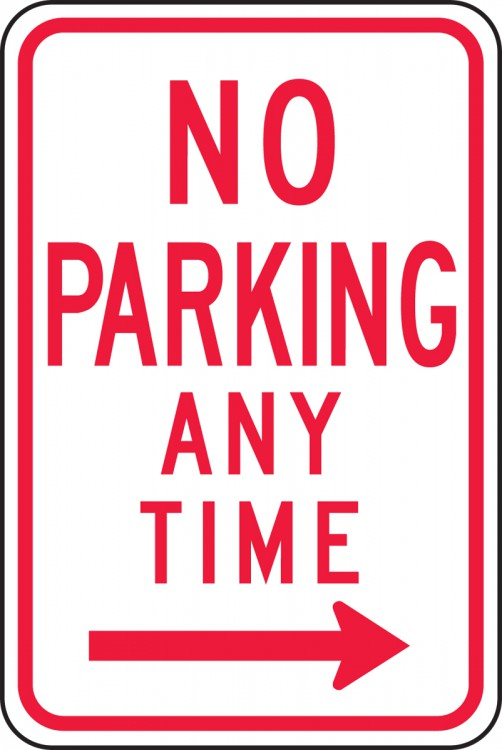 NO PARKING ANY TIME ----->