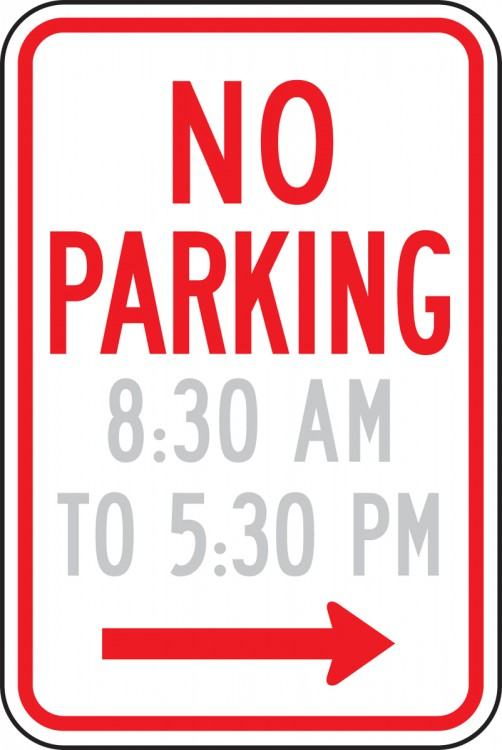 NO PARKING (HOURS RANGE, ARROW RIGHT)