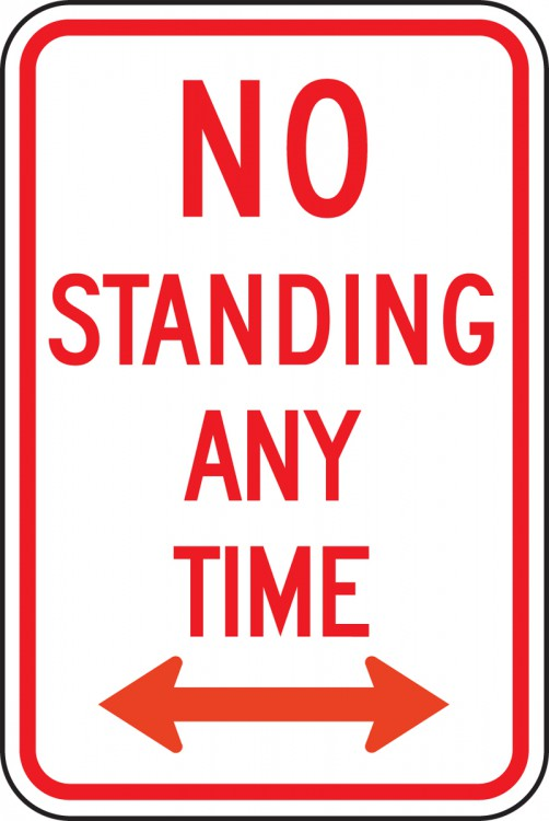 NO STANDING ANY TIME (DOUBLE ARROW)